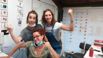 Iolanda Parés, Elisenda Soler i Anna Dot. Equip directiu de l'Escola d'Arts Plàstiques de Torelló.